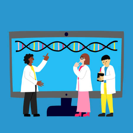 Scientists in white robes and big computer monitor with DNA molecule on it. Team interprets genome. Bioinformatics and biotechnology. DNA identifying. Flat style drawing. Stock vector illustration. Foto de archivo - 150139030