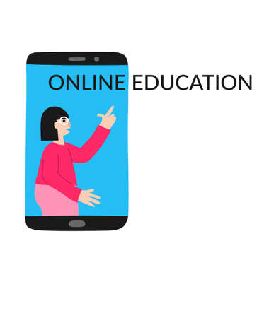 Online education concept. Caucasian woman with glasses on mobile phone screen. Isolated on white. Distant school. Teacher explaining. Flat style drawing. Stock vector illustration. Foto de archivo - 150540942
