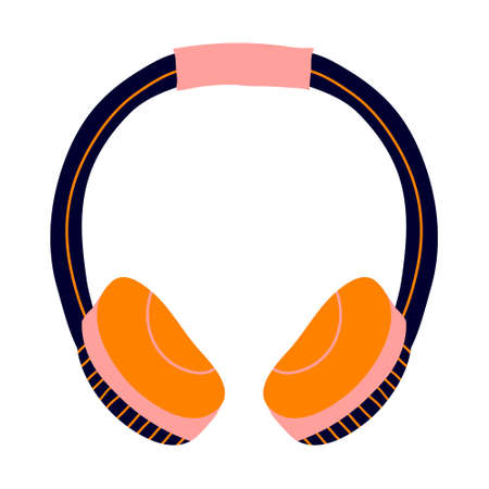 Headphones isolated in white background. Colorful hand drawn earphones. Fun digital design. Youth lifestyle. Technology template. Stock vector illustration.