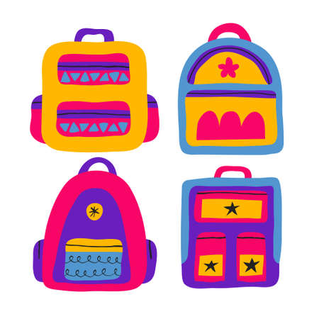 Collection set of trendy colorful backpacks isolated on white background. School supplies drawing in flat style. Fun school bag design. Stock vector illustration. Foto de archivo - 151386997