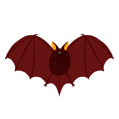 Scary dark bat isolated on white background. Creepy night animal with fangs and wings. Halloween character. Holiday decoration. Creative flat drawing design. Trendy stylish stock vector illustration.