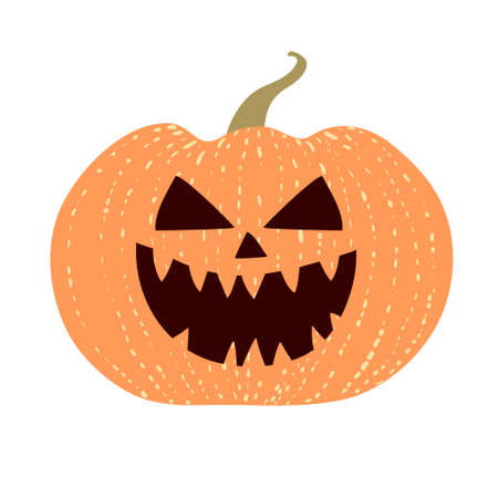 Evil pumpkin laugh isolated on white background. Fun hand drawn design. Halloween holiday decoration. Jack o lantern spooky character with grinning smile. Mean face. Stock vector illustration