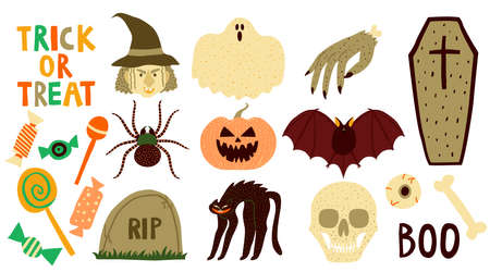 Big collection set of halloween elements isolated on white background. Witch, coffin, skull, bat, spider, ghost, cat, pumpkin, dead hand, eyeball, candy. Flat style drawing. Stock vector illustration