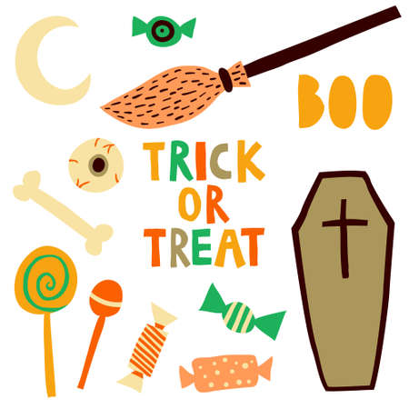 Collection set of halloween elements isolated on white background. Broom, candys, eyeball, moon, coffin, bone, lettering. Trick or treat multicolor sign. Flat style drawing. Stock vector illustration.