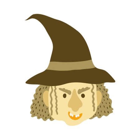 Evil old witch in hat isolated on white background. Grinning face of halloween character. Mean witch head. Spooky magic creature face. Fun design. Flat style drawing. Stock vector illustration. Illustration