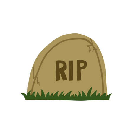 Headstone isolated on white background. Flat style drawing of graveyard. Rip sign. Halloween concept with grave. Stock vector illustration drawn by hand.