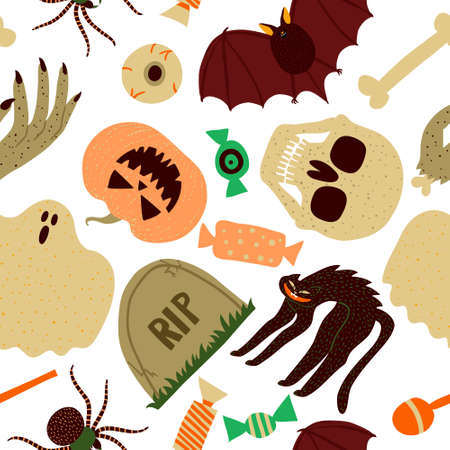 Seamless pattern with spooky collection set of skull, bat, pumpkin, black cat, ghost, grave, spider, candy, eyeball. Halloween design for textile, banner. Flat style drawing. Stock vector illustration