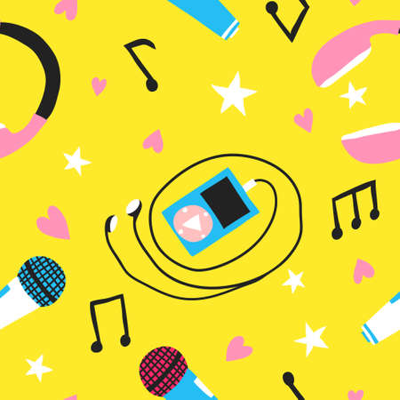 Colorful seamless pattern with mp3 player, earphones, mic and musical notes. Flat doodle collection set drawing. Fun musical design for wrapping paper, fabric. Trendy stock vector illustration Illustration