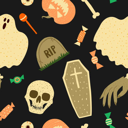 Scary Halloween seamless pattern. Collection set of spooky objects on dark background. Skull, bone, coffin, evil pumpkin, ghost sheet, grave and candies. Doodle drawing. Stock vector illustration.