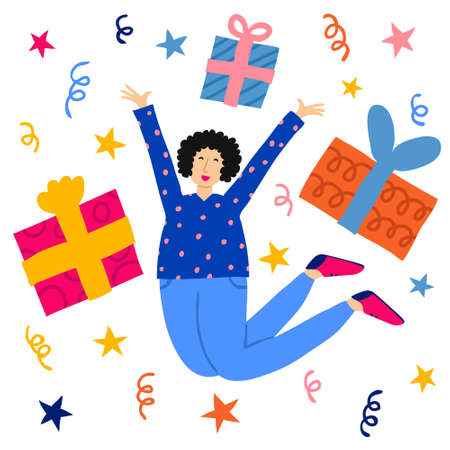 Young woman excited and jump. Gift boxes and confetti isolated on white background. Giveaway concept. Happy holiday. Getting presents joy and gladness. Flat style drawing. Stock vector illustration