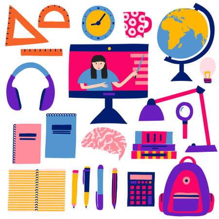Online education concept. Collection set of school items. Backpack, pens, notepads, globe books, brain. Internet classes and courses. Computer monitor with a teacher. Flat style drawing. Stock vector Illustration