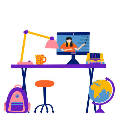 Online education concept. Domestic room with desk and items on it. Taking internet classes or courses. Woman teacher on computer monitor. Lamp, globe, chair, books, mug, backpack. Hand drawn vector Illustration