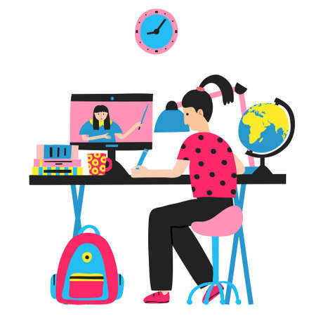 Caucasian girl studying. Internet education. Woman teacher on computer monitor. Live stream. Online school. E-learning concept. Distance home learning. Flat style drawing. Stock vector illustration
