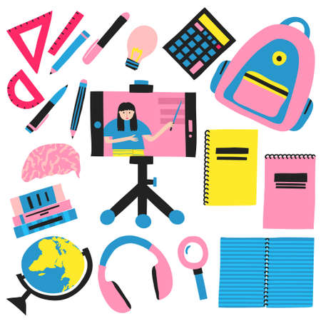 Collection set of school supplies. Backpack, globe, ruler, protractor, calculator, magnifier, notepads, smartphone in tripod. Woman teacher on display. Online school, e-learning. Internet education.