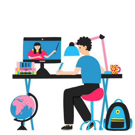 Young man at home learning from online classes or courses. Desk with books, lamp, mug and computer monitor on it. Online education, internet school. Flat style drawing. Stock vector illustration.