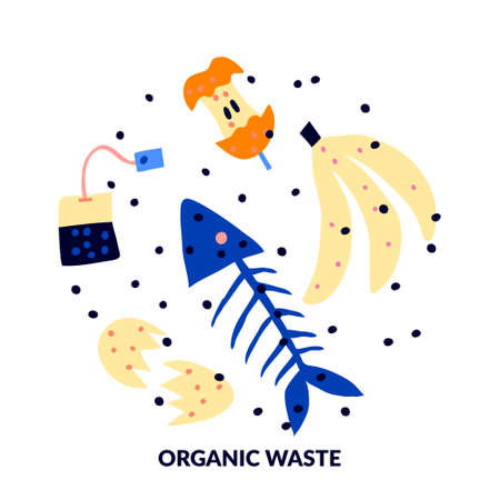 Organic waste isolated on white background. Fish skeleton, tea bag, apple core, eggshell, banana peel. Flat style drawing. Food garbage concept. Color modern design. Trendy stock vector illustration. Illustration