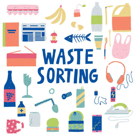 Collection set of unsorted garbage. Waste sorting lettering. Hand drawn group of trash. Isolated on white. Environmental pollution and recycling concept. Trendy design. Stock vector illustration. Illustration