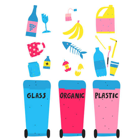 Waste sorting and management concept. Glass, organic and plastic garbage. Multicolor recycling bins and trash. Flat style drawing. Trendy stock vector illustration