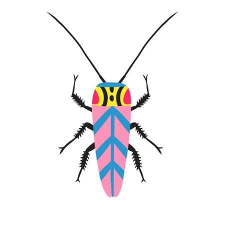 Fun multicolor doodle cockroach isolated on white background. Cute insect with antennae. Funny bug. Colorful flat style drawing. Hand drawn trendy design for shirt, poster. Stock vector illustration. Illustration