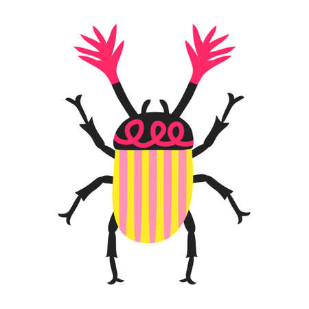 Fun cockchafer isolated on white background. Cute multicolored may bug beetle. Hand drawn garden insect with antennae. Print design for shirt, poster. Doodle style drawing. Stock vector illustration