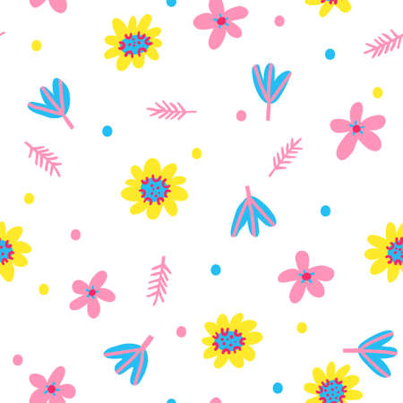 Beautiful hand drawn seamless pattern with flowers and leaves isolated on white background. Cute floral banner. Colorful backdrop design for textile, digital wrapping paper. Stock vector illustration