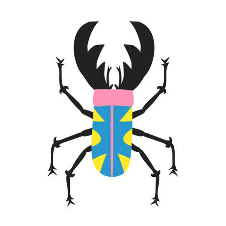 Fun multi colored beetle. Insect with big horns isolated on white background. Top view of cute bug. Funny design for shirt, mug, poster. Trendy flat style drawing. Modern stock vector illustration Foto de archivo - 152762679