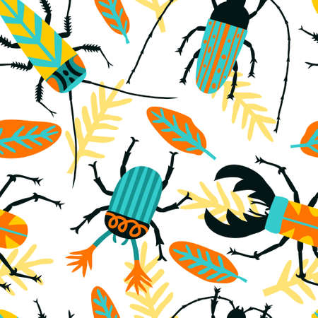 Hand drawn seamless pattern with exotic beetle, bug, cockroach, leaves. Cute multicolored insects. Tropical background design for textile, fabric, digital paper. Fun stock vector illustration.