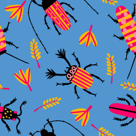 Fun seamless pattern with multicolored beetles and leaves on blue background. Cute garden concept. Hand drawn print design for textile, wallpaper, fabric. Doodle drawing. Stock vector illustration.