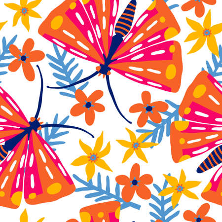 Beautiful seamless pattern with butterflies and flowers. Floral background. Isolated on white. Cute summer design for textile, fabric. Multicolored wallpaper. Hand drawn vector illustration