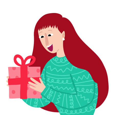 Caucasian woman gets a gift box with bow. Happy smiling face. Surprised female character. Concept of exchanging presents. Isolated on white background. Flat style drawing. Holiday vector illustration Illustration