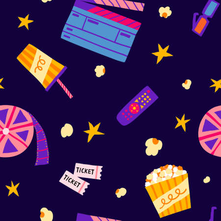 Seamless pattern with popcorn, film strip roll, 3d glasses, tickets, remote control, clapperboard, stars. Cinema concept dark background. Fun cartoon illustration. Movie hand drawn vector design