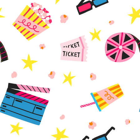 Seamless pattern with clapperboard, popcorn, soda, 3d glasses, filmstrip isolated on white background. Film and cinematography. Movie concept hand drawn vector design. Creative cinema illustration Illustration