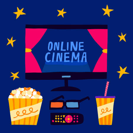 Online cinema sign on tv monitor. 3d glasses, remote control, popcorn and soda on dark background. Home movie theater. Watching film on television. Flat style illustration. Modern hand drawn vector