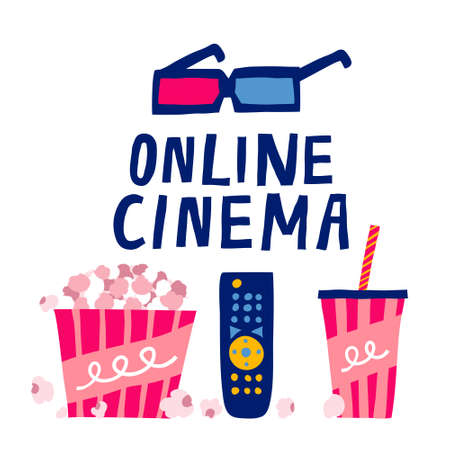 Online cinema text and 3d glasses, popcorn, soda, remote control isolated on white background. Home film watching concept. Online Movie color poster. Flat style vector. Fun hand drawn illustration