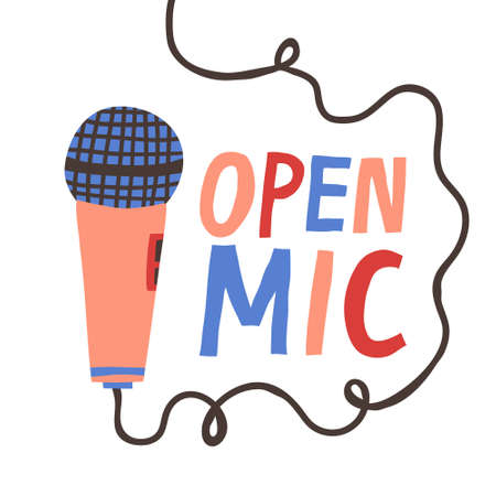 Open Mic sign and microphone isolated on white background. Fun flat style drawing. Stand-up party live event poster. Comedy or poetry show flyer design. Colorful hand drawn vector illustration Illustration