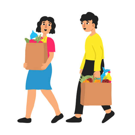 Two happy people walking with paper bags full of grocery. Hand drawn flat style smiling couple carrying fresh food. Family shopping concept isolated on white background. Fun modern vector illustration