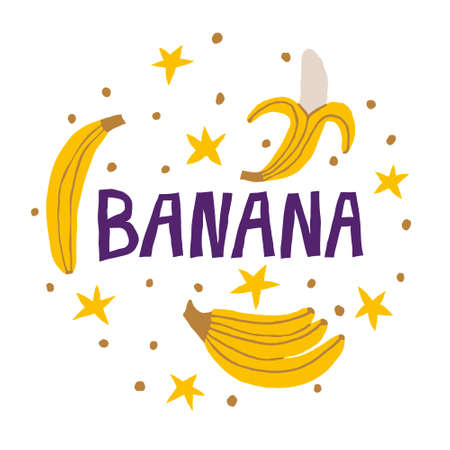 Banana lettering sign and yellow bananas isolated on white background. Hand drawn word and fresh exotic fruits. Cute trendy illustration. Natural vector design
