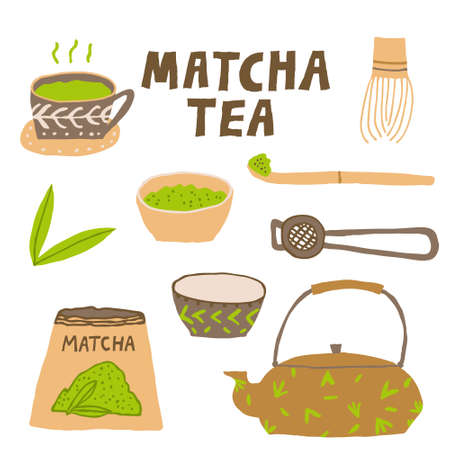 Matcha tea accessories collection set isolated on white background. Asian organic green beverage. Traditional japanese drink ceremony concept. Hand drawn flat design. Modern vector illustration