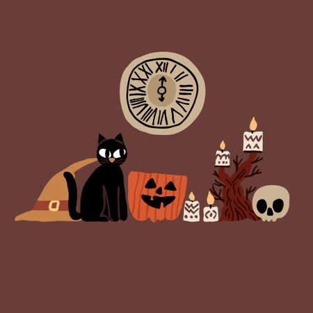 Halloween illustration with black cat, skull, witch hat, evil pumpkin, candlestick and clock. Collection set of hand drawn elements. Spooky holiday concept. Vector design for poster, party invitation Illustration