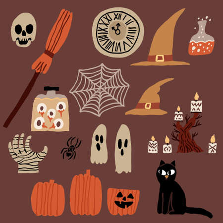 Halloween collection set. Black cat, evil pumpkin, candlestick, candles, mummy hand, skull, clock, witch hat, jar with eyeballs, spider web. Spooky vector decorations. Fun hand drawn illustration