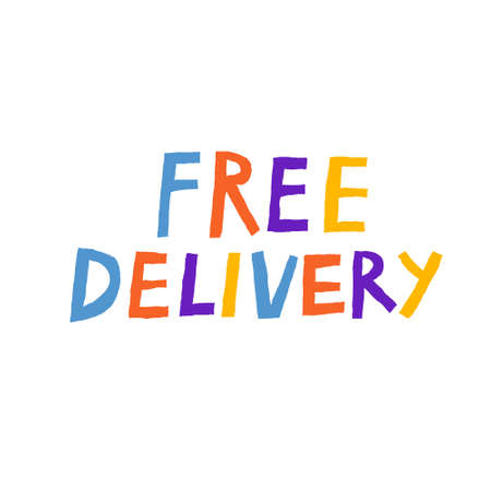Free delivery inscription isolated on white background. Fun multicolored lettering. Delivery service banner design. Commercial text sticker. Hand drawn vector illustration. Illustration