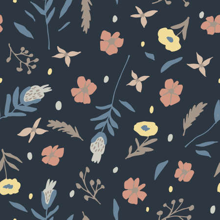 Modern floral seamless pattern. Hand drawn flowers doodles on dark background. Beautiful print design for textile, fabric. Forest botanical backdrop. Trendy multicolored vector illustration template
