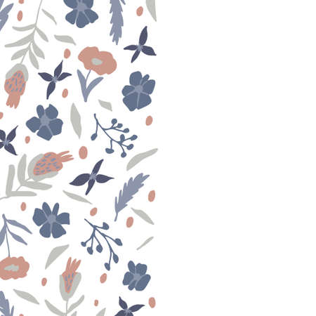 Cute floral banner with copy space for text. Hand drawn flowers and leaves doodles isolated on white background. Nature border template. Trendy vector illustration. Lovely botanical design for card