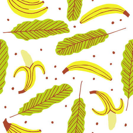 Seamless pattern with bananas and leaves isolated on white background. Hand drawn fresh and healthy food. Flat style design for fabric, textile. Tropical fruit doodle illustration. Summer vector print