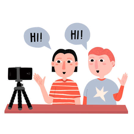 Young caucasian boys saying hi to followers in social media. Teenagers in casual clothes recording a vlog. Kids bloggers concept. Child fun hobby. Hand drawn flat style. Trendy vector illustration