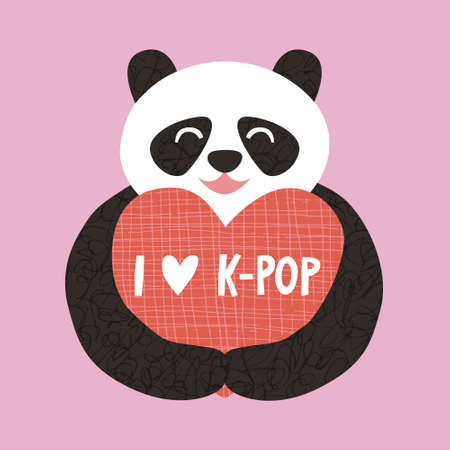 I Love K-Pop hand drawn vector lettering sign. Cute cartoon panda bear animal hold a heart shape with sign inscription. South Korean popular music fan concept. Colorful trendy kpop poster illustration