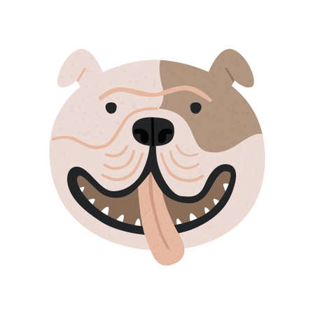 Cute English bulldog vector portrait isolated on white. Hand drawn funny doggy face with tongue out. Cartoon smiling pet, playful animal head illustration. Cheerful dog breed, flat art print design