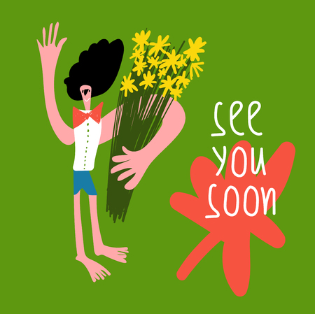Boy with flowers. Postcard, drawing by hand. Lovely See you soon.