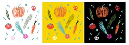 Yellow and black backgrounds. You will find there pumpkin, cucumber, pepper, zucchini, tomato, radish, garlic, and carrot.