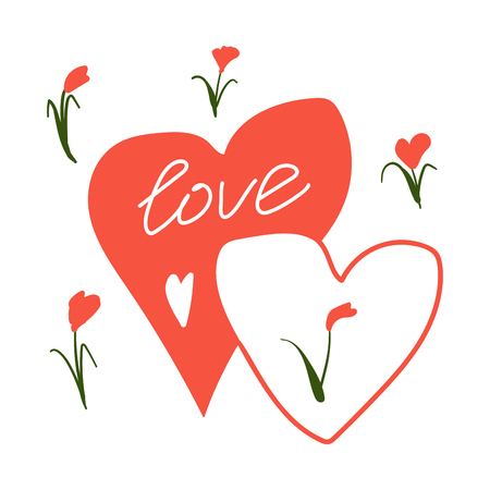 Love postcard. Vector Happy Valentines Day floral postcard. Tulips with Love lettering.